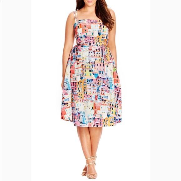 3f6d596f8c City Chic Dresses   Skirts - City Chic Fit   Flare Printed Midi Full ...